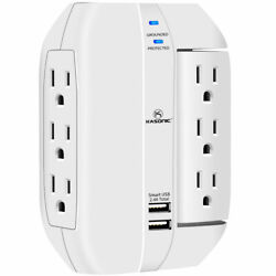 Wall Outlet Surge Protector 6 Grounded Outlets With 2.4a Usb Ports 1350 Joule