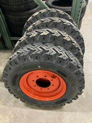 4 New 12 Ply Skid Steer Bias Mud Snow 7.50 16 Tires Replace 12 16.5 Bolt 8 On 8