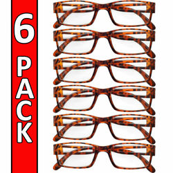Reading Glasses Mens Womens Readers 6 PACK Square Frame Unisex Style Specs NEW $11.95