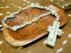 Stoneware Rosary Cross And Beads Texas Cowboy Rustic Ranch Home Decor Clay 16-18