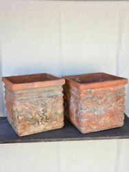 Pair Of Large Antique French Terracotta Planters From The French Riviera 16½