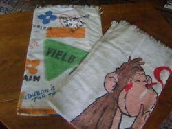 2 Large Vintage 1970s Beach Towels Monkey Family Mental Health Road Signs Quotes