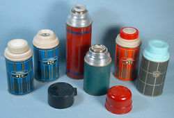 1950s-1971 Lunch Box Thermos Metal Plastic Parts 6 Bottles King Seeley Aladdin