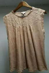 Cute LUCKY BRAND Blush Women Size Medium M Boat Neck EMBROIDERED Tunic Top INDIA $11.99