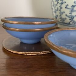 Antique Peking China Blue Glass Bowls With Copper Rims Set Of 3