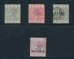 Nevis 1882-4 21 Mlh 23a Used 27 Used And 1 Penny Revenue Vf W/pen Cancel