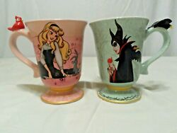 Disney Store Art Of Aurora And Maleficent Coffee Cups Set New