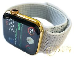 Custom 24k Gold Plated 44mm Apple Watch Series 5 With White Loop Band Gps+lte