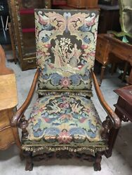 Antique Carved Over Size Hall Chair Tapestry Upholstery