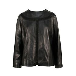 NWT VALENTINO Black Leather Long Sleeve Top Size 642 $5060