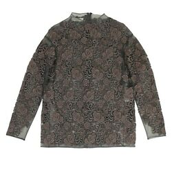 Nwt Valentino Gray Embroidered Lace Sheer Tunic Shirt Size 2/38 S 7105