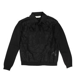 Nwt Valentino Black Laced Front Collared Sweater Top Size M 1895