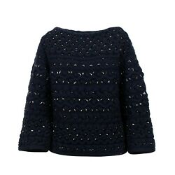Nwt Valentino Navy Embellished Beaded Chunky Knit Sweater Top Size S 5227