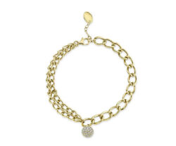 14k Yellow Gold Diamond Link Ball Charm Bracelet Chain Round Pave Natural 0.72ct