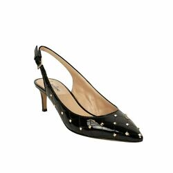Nib Valentino Black Leather And039rockstudand039 Spike Quilted Pumps Size 9/39 945