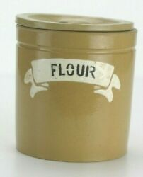 Antique Yellow Ware Flour Kitchen Canister Ribbon Front With Lid