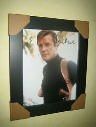 Roger Moore Excellent Signed Photograph {8x10} In A Lovely Black Frame + Coa