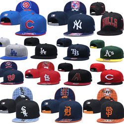 Classic Embroidered Unisex Flat Brim MLB Teams Snapback Baseball Cap Sports Hat