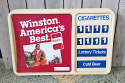 Vintage Winston Cigarette Gas Station Price Lottery Ticket Advertising Sign
