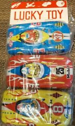 Lucky Toy Tin Litho Race Car Sealed Pack Of 3 Rare Vintage 1960's Japanese Nip