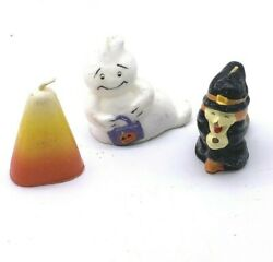 Vintage Halloween Candles Lot Of 3 Candy Corn Ghost Witch