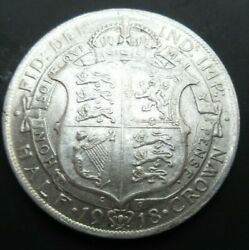 1918 George V Bare Head First Coin Half 1/2 Crown Spink 4011 Crowned Shield Cc5