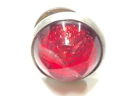 Unique Vintage Red Glass Faceted Jewel Motorcycle Old License Plate Reflector