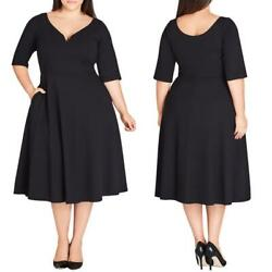 NEW City Chic PLUS SIZE Cute Girl BLACK 34 Sleeved A-LNE Flare MIDI DRESS 14 $24.99