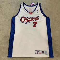 Lamar Odom Clippers Champion Pro Cut / Team Game Issued Home White Jersey 98-00