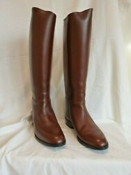 Sergio Grasso Limited Edition Long Brown Leather Riding Boots Size 42+3