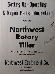 Northwest Equipment 3-point Mounted Rotary Tiller Implement Owner And Parts Manual