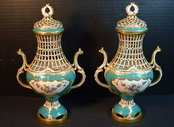 Matched Pair Of Minton Porcelain Reticulated Openwork Covered Vases