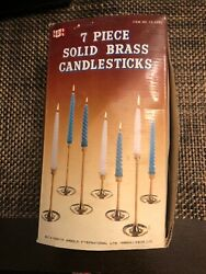 Vintage 7piece Solid Brass Candel Sticks By Himark. New/ Never Used