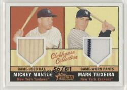 2010 Heritage Clubhouse Collection Dual Relic /61 Mickey Mantle Mark Teixeira