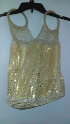 GAP Hobo Gold Sequined Handled Purse Tote 18quot; Tall $15.00