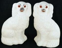 Pair Antique Victorian Staffordshire Pottery Spaniel Dog Figures Glass Eyes