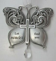 s Let miracles find you BUTTERFLY CROSS ORNAMENT ganz