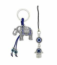 Elephant Charm Keychain With Blue Evil Eye And A Hanging Silver Hamsa Pendant ..