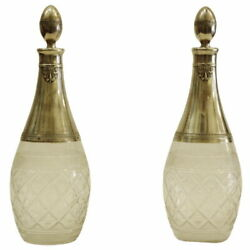 Antique 19th Ce French Silver And Crystal Pair Of Bottles