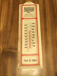 Old Bausback Fertilizer Dead Stock Removed Promptly Tin Thermometer 13x 3 3/4