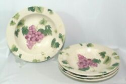 Set Of 4 Fairfield Stoneware Grape Valley 8 1/2 Rimmed Soup Bowls
