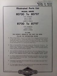 Briggs And Stratton 3 Hp Gasoline Vertical Engine 80700-81797 Parts Catalog Manual