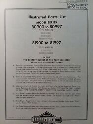 Briggs And Stratton 3 Hp Gasoline Vertical Engine 80900-81997 Parts Catalog Manual