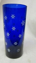Scarce Libbey Cobalt Blue With Snowflake Tall Cocktail Glass Tumbler