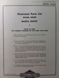 Briggs And Stratton 3 Hp Gasoline Vertical Engine 84502-85502 Parts Catalog Manual