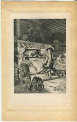 ANTIQUE MEDIEVAL TAVERN INN POULTRY COOKING ON SPIT PIT BULL TERRIER DOGS PRINT