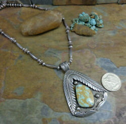 OH MY!! 2 SIDED NAVAJO STERLING ROYSTON TURQUOISE SQUASH BLOSSOM NECKLACE PAWN