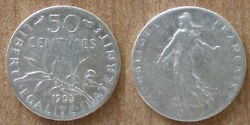 France 50 Centimes 1905 Silver Franc Cent Coin Free Shipping Wrd Francs Frcs Frc