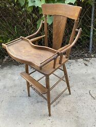 Charming 1900's Oak Antique Vintage Wooden Baby Feeding High Chair Swing Tray