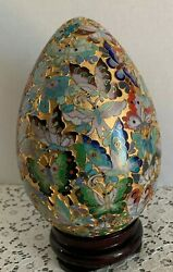 Cloisonne Egg With Stand 10 Butterflies And Flowers Vivid Colors